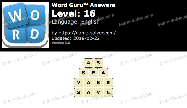 Word Guru Level 16 Answers