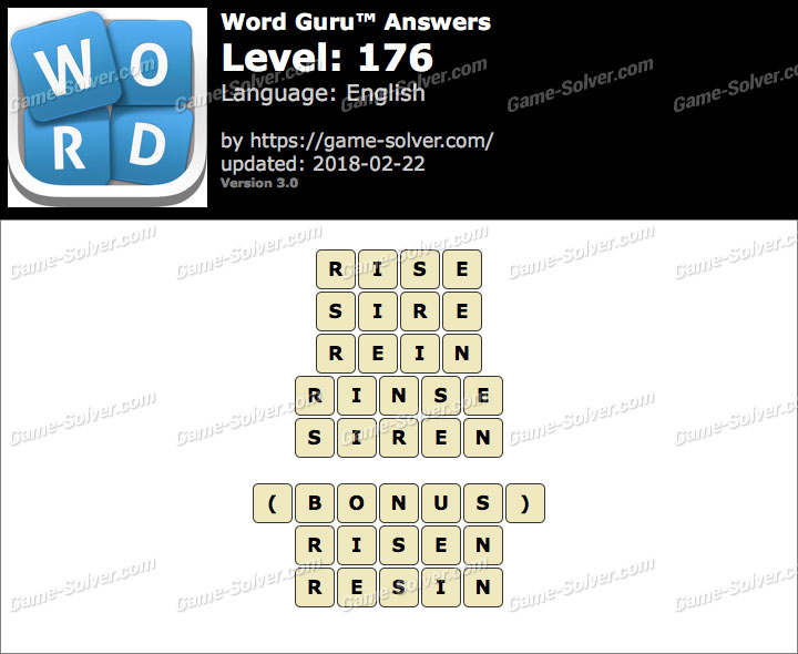 Word Guru Level 176 Answers