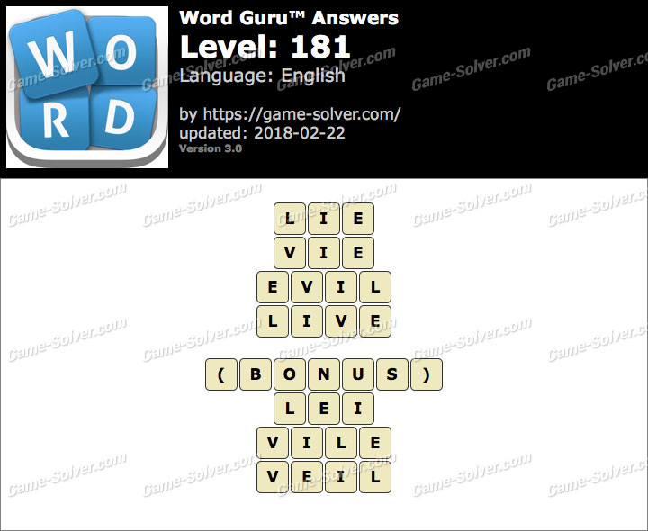 Word Guru Level 181 Answers