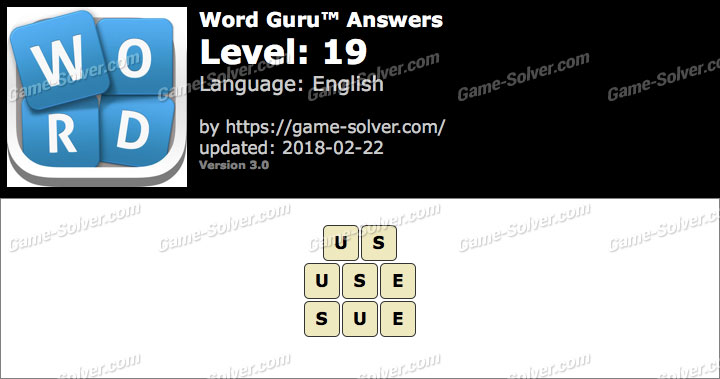 Word Guru Level 19 Answers