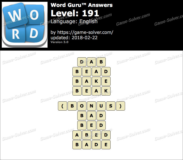 Word Guru Level 191 Answers