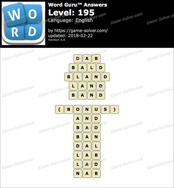 Word Guru Level 195 Answers