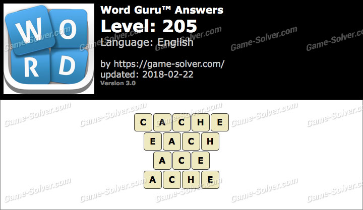 Word Guru Level 205 Answers