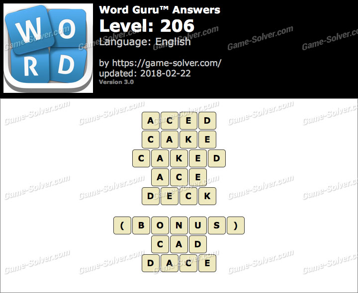 Word Guru Level 206 Answers