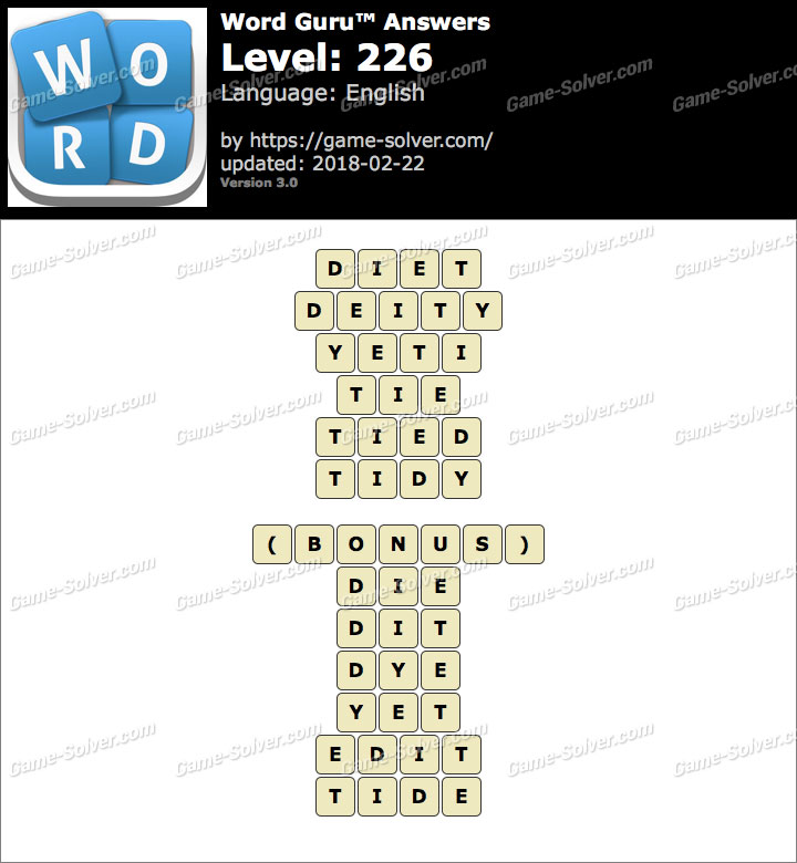Word Guru Level 226 Answers