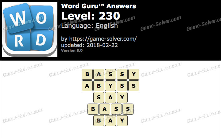 Word Guru Level 230 Answers