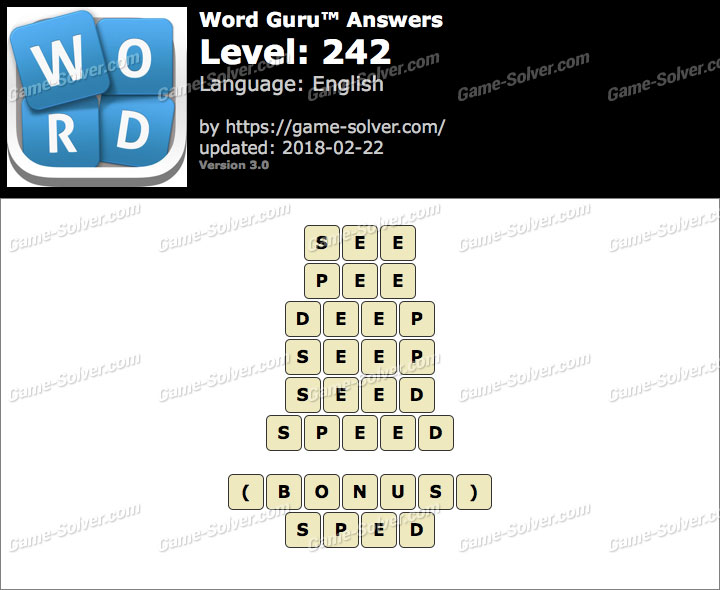 Word Guru Level 242 Answers