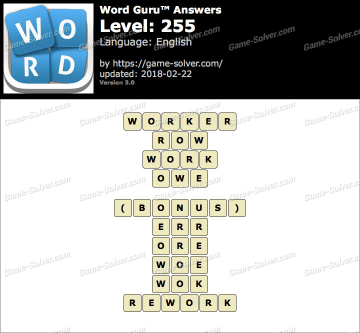 Word Guru Level 255 Answers