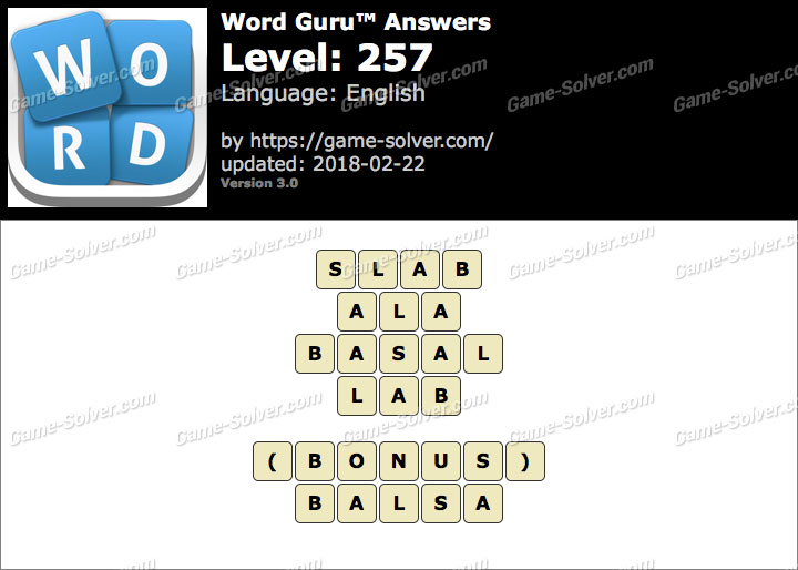 Word Guru Level 257 Answers