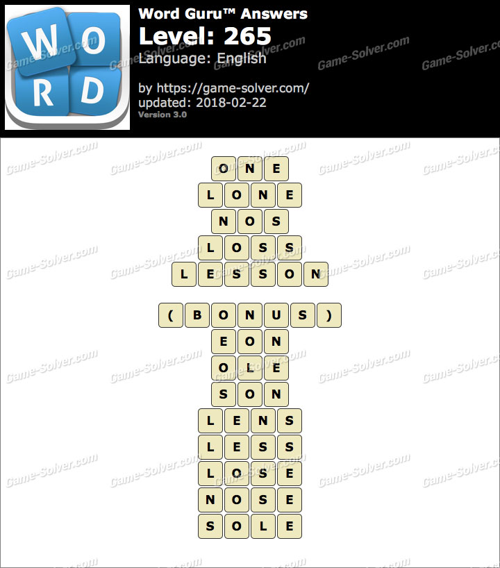 Word Guru Level 265 Answers