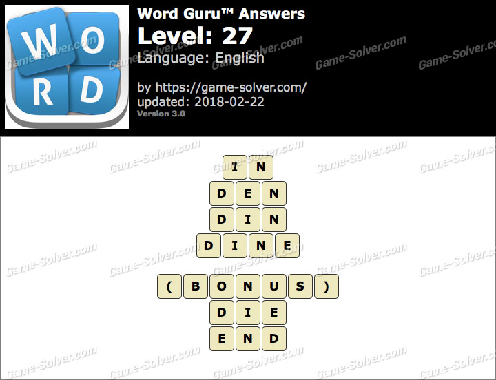 Word Guru Level 27 Answers