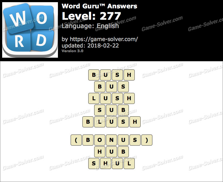 Word Guru Level 277 Answers