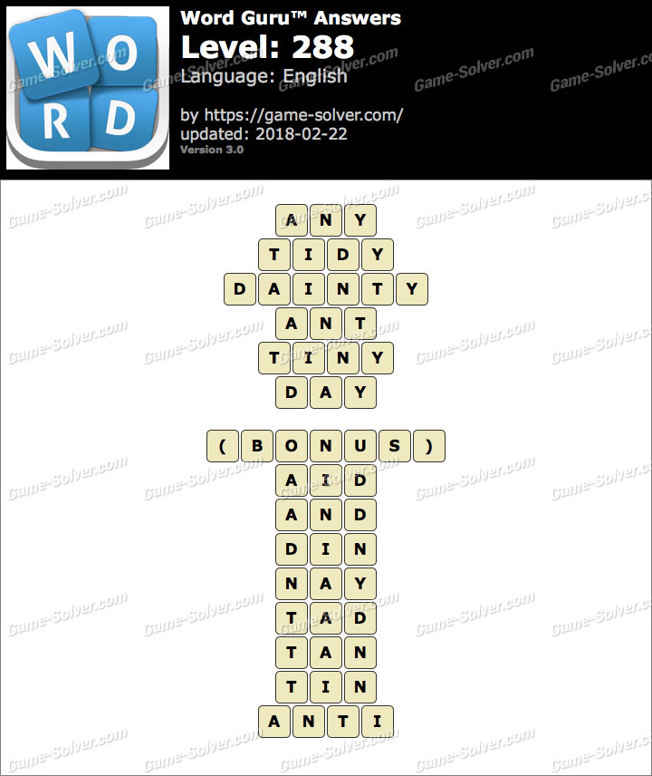 Word Guru Level 288 Answers