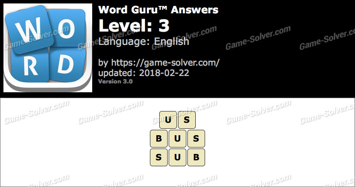 Word Guru Level 3 Answers