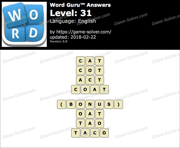 Word Guru Level 31 Answers