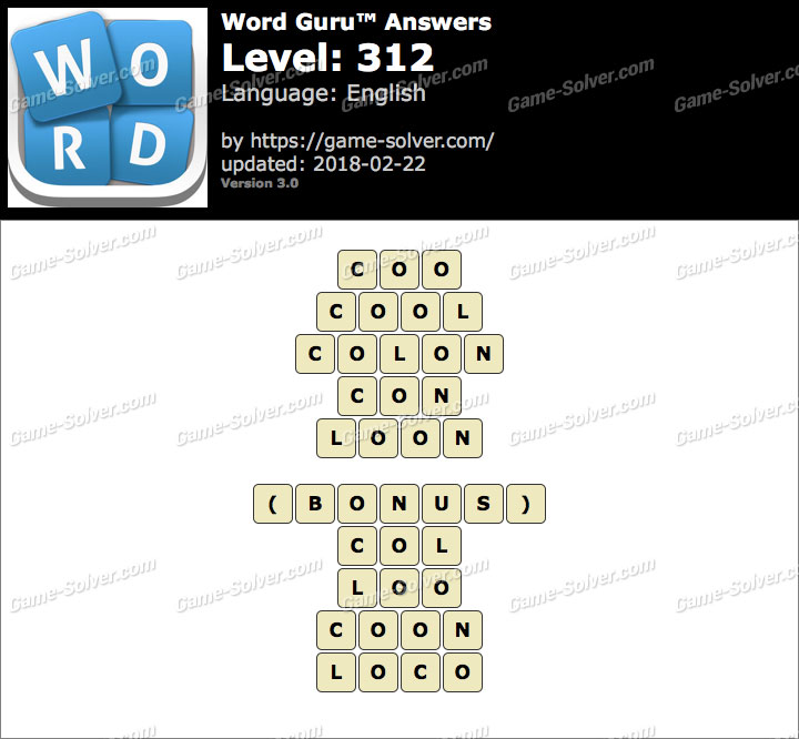 Word Guru Level 312 Answers