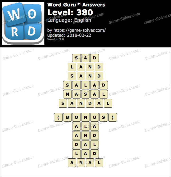 Word Guru Level 380 Answers