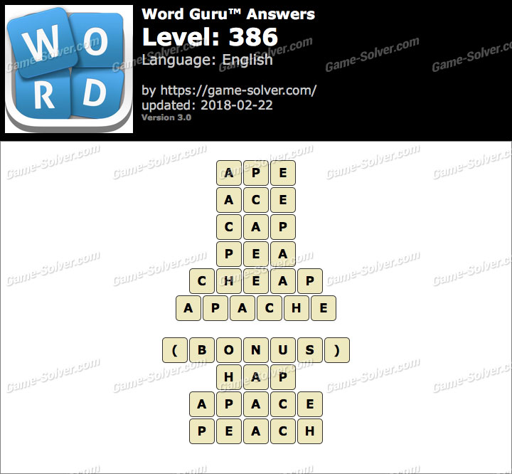Word Guru Level 386 Answers