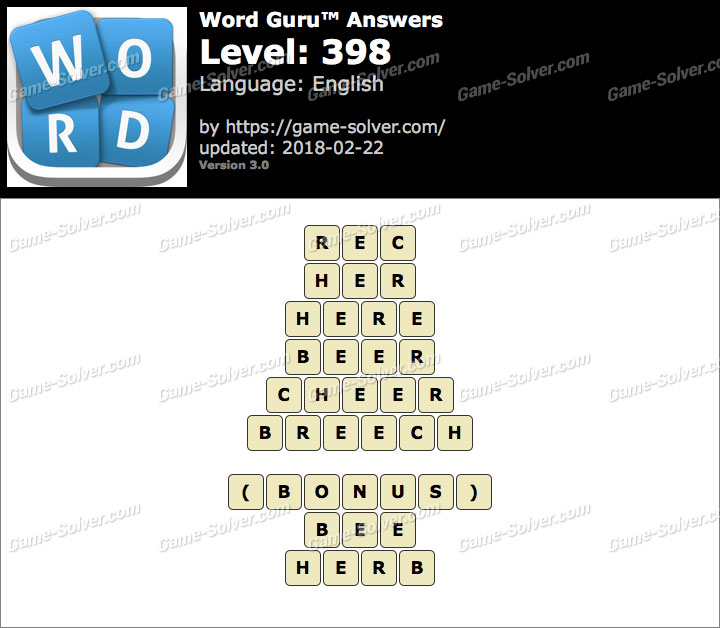 Word Guru Level 398 Answers
