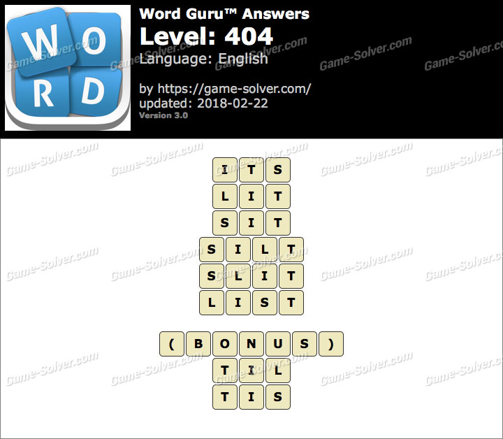 Word Guru Level 404 Answers