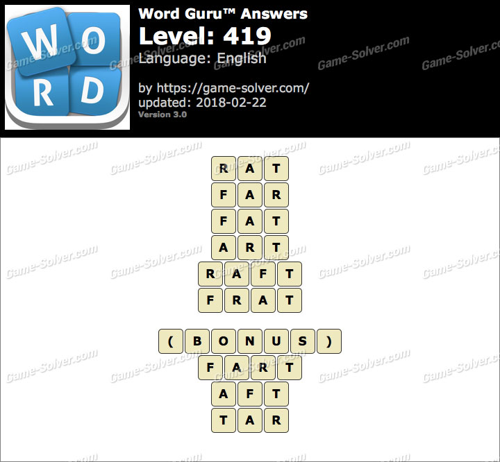 Word Guru Level 419 Answers