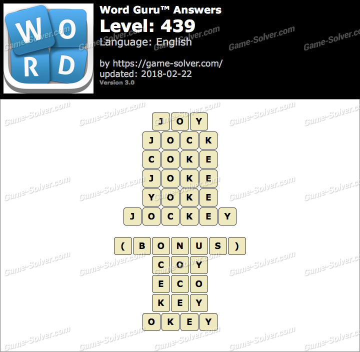 Word Guru Level 439 Answers