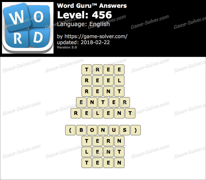 Word Guru Level 456 Answers