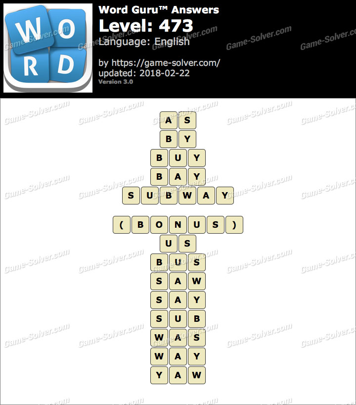 Word Guru Level 473 Answers