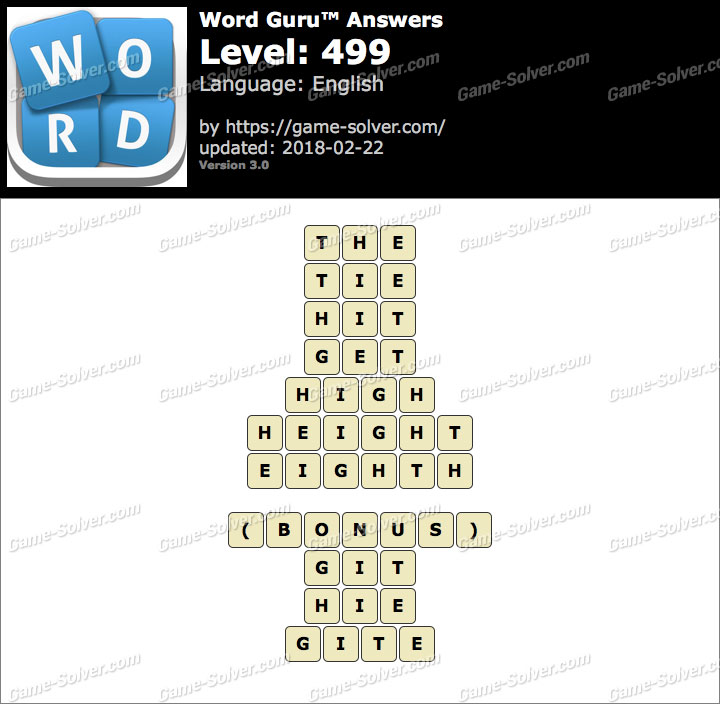 Word Guru Level 499 Answers
