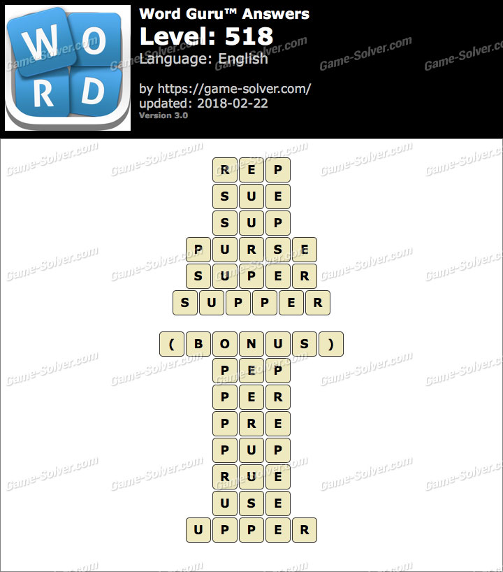 Word Guru Level 518 Answers