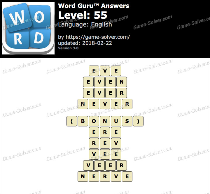 Word Guru Level 55 Answers