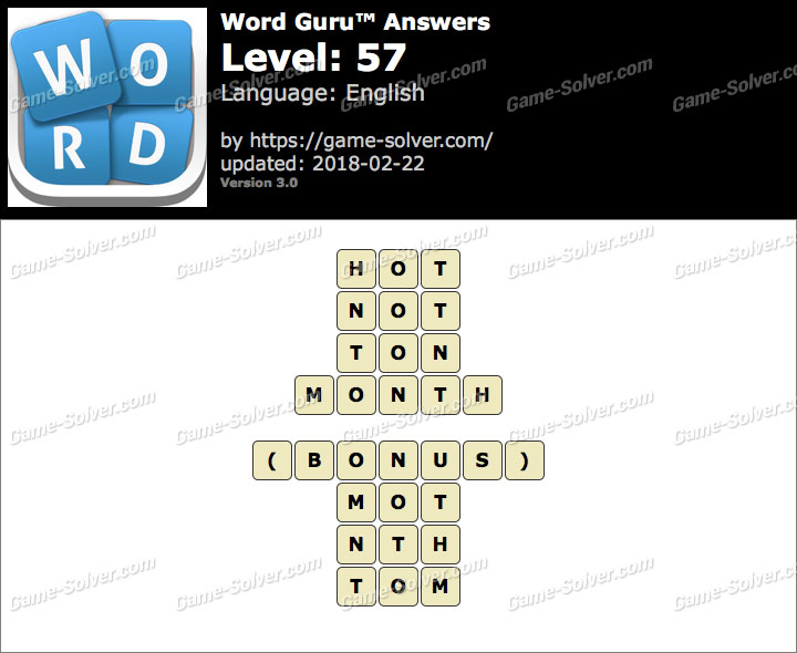 Word Guru Level 57 Answers