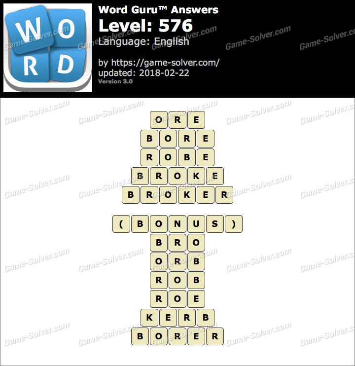 Word Guru Level 576 Answers