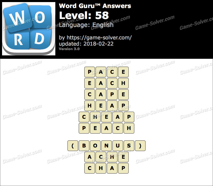 Word Guru Level 58 Answers