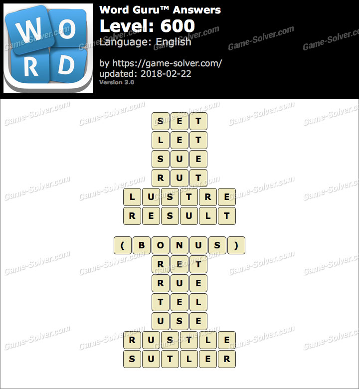Word Guru Level 600 Answers
