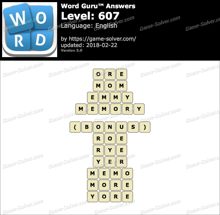Word Guru Level 607 Answers