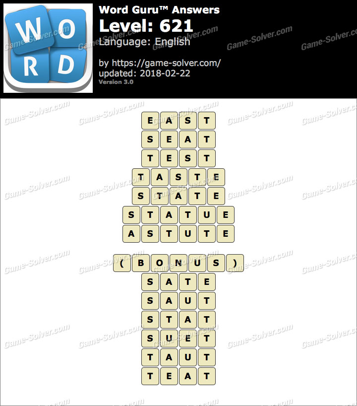 Word Guru Level 621 Answers