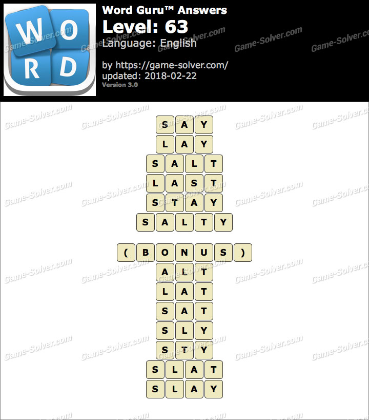 Word Guru Level 63 Answers Game Solver