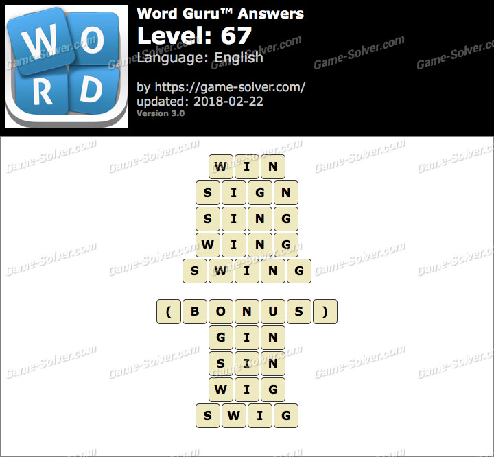 Word Guru Level 67 Answers