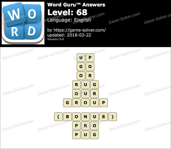 Word Guru Level 68 Answers