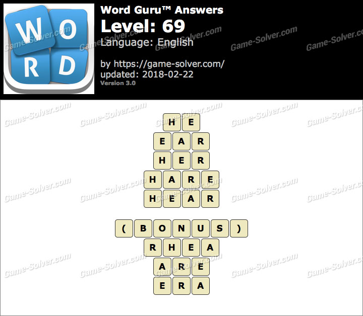 Word Guru Level 69 Answers
