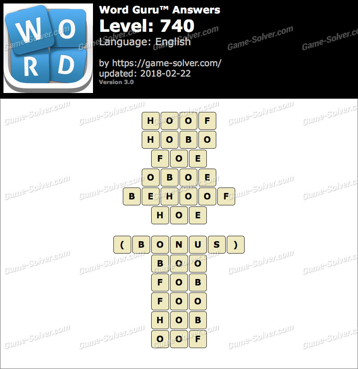 Word Guru Level 740 Answers