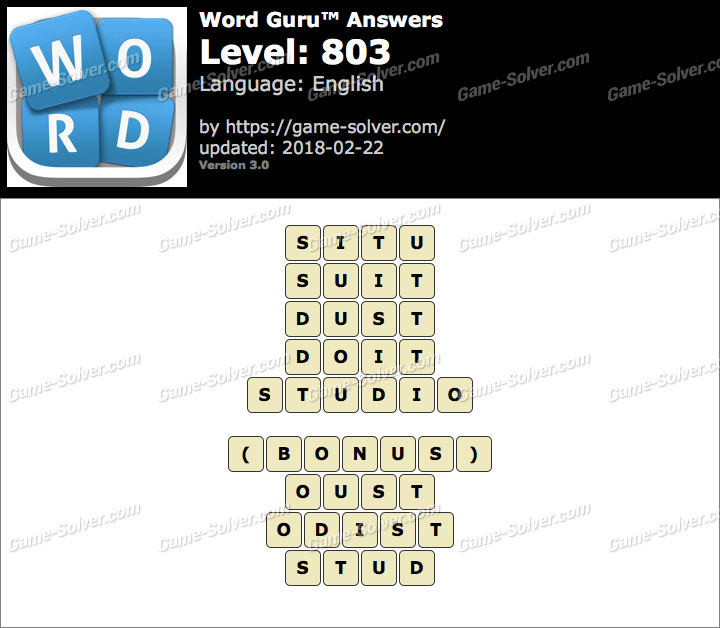 Word Guru Level 803 Answers
