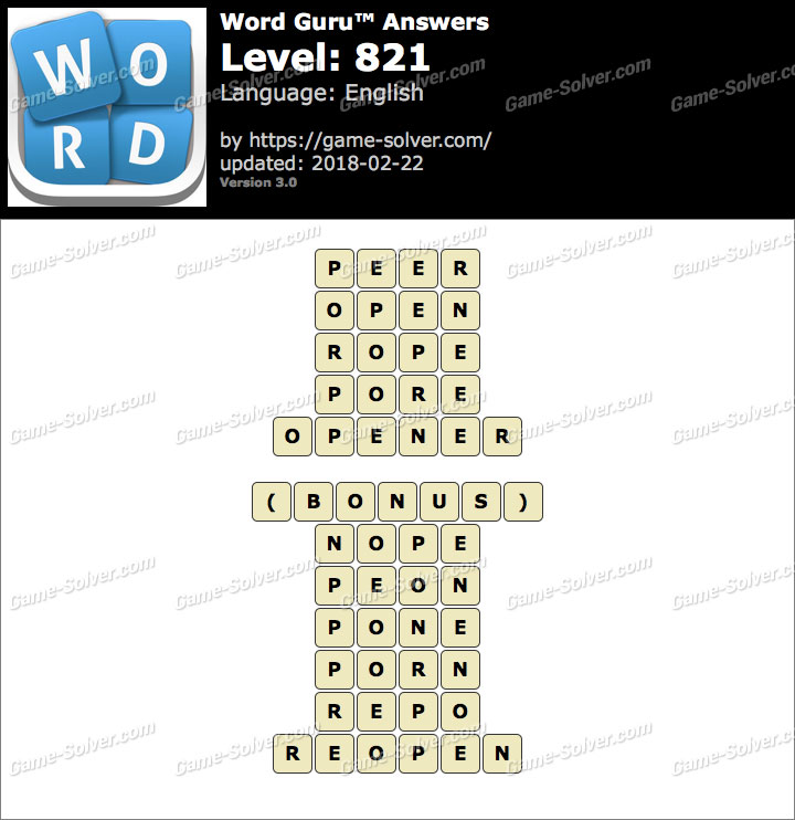 Word Guru Level 821 Answers