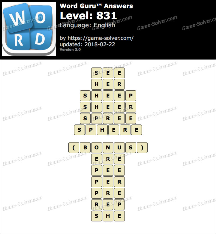Word Guru Level 831 Answers