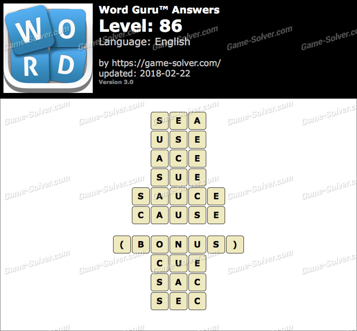 Word Guru Level 86 Answers