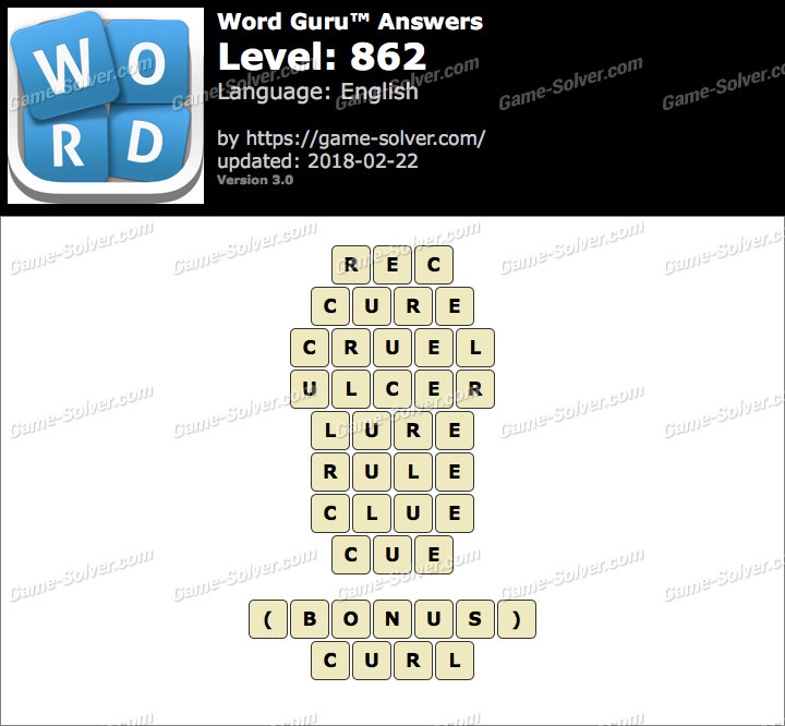 Word Guru Level 862 Answers