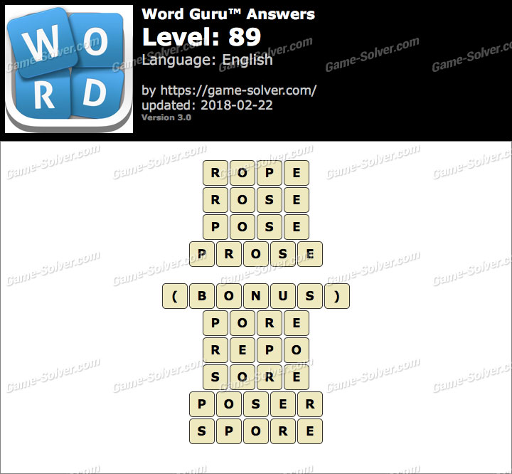 Word Guru Level 89 Answers