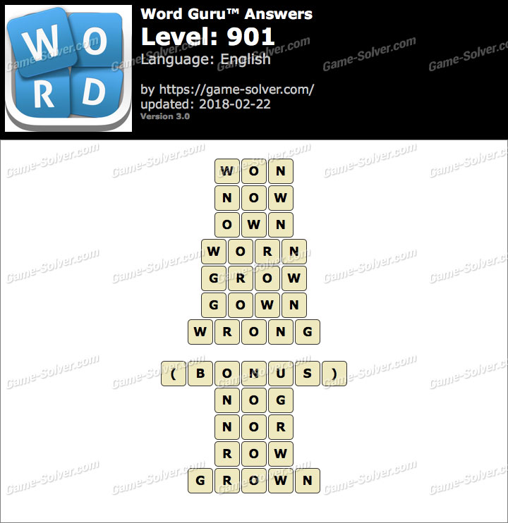 Word Guru Level 901 Answers