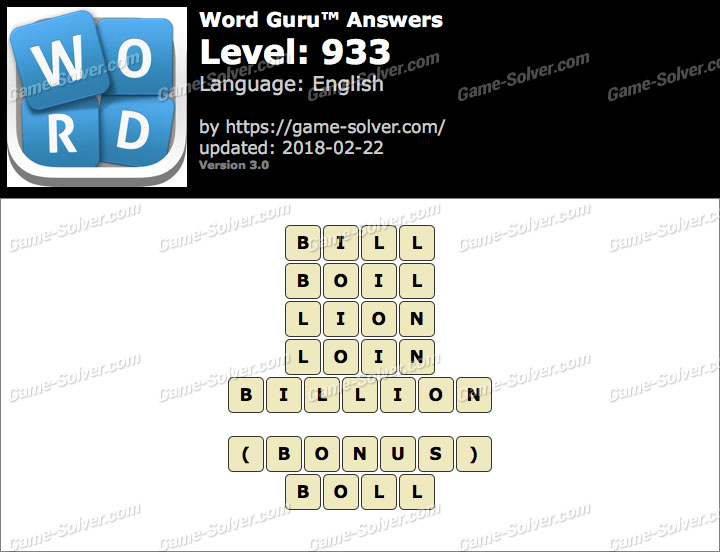 Word Guru Level 933 Answers